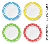 set of color plates with white...   Shutterstock . vector #1814743355