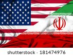 waving flag of iran and usa | Shutterstock . vector #181474976
