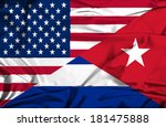 waving flag of cuba and usa | Shutterstock . vector #181475888