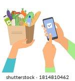 online grocery shopping concept ...   Shutterstock .eps vector #1814810462