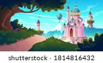pink magic castle  princess or... | Shutterstock .eps vector #1814816432