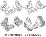 black and white set of... | Shutterstock .eps vector #181483292