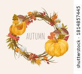 watercolor autumn frame with... | Shutterstock .eps vector #1814857445