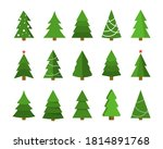 christmas tree flat icon set.... | Shutterstock .eps vector #1814891768