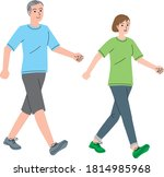 middle aged couple walking... | Shutterstock .eps vector #1814985968