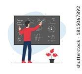 teacher explaining and writing...   Shutterstock .eps vector #1815067892