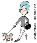 Senior Woman Walks Her Dog