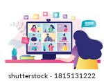 woman communicates with...   Shutterstock .eps vector #1815131222