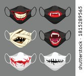 set of fabric face mask.... | Shutterstock .eps vector #1815289565