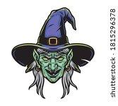 scary witch head in purple hat...   Shutterstock .eps vector #1815296378