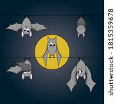 cute bats hanging upside down... | Shutterstock .eps vector #1815359678