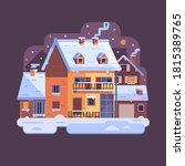 Winter Village Scene With Rura...