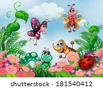 illustration of a garden with... | Shutterstock . vector #181540412