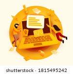 people flying around big laptop.... | Shutterstock .eps vector #1815495242