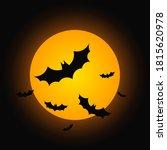 full moon and flying bats ... | Shutterstock .eps vector #1815620978