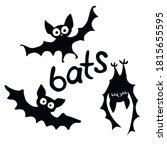 cute black bats drawn in... | Shutterstock .eps vector #1815655595