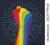 rainbow colored hand with a...   Shutterstock . vector #1815779918