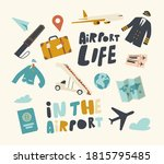 set of icons airport theme...   Shutterstock .eps vector #1815795485