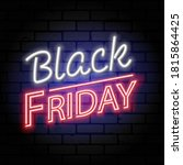 black friday sale neon banner....   Shutterstock .eps vector #1815864425