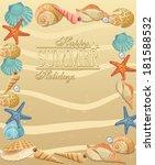 summer holiday seashells frame. ... | Shutterstock .eps vector #181588532