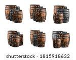 pattern old gray barrel keg set ... | Shutterstock . vector #1815918632