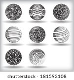 set of vector abstract globes  | Shutterstock .eps vector #181592108
