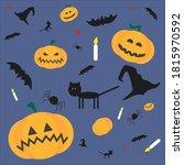 set for halloween on a blue... | Shutterstock .eps vector #1815970592