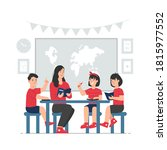 teacher with students sitting... | Shutterstock .eps vector #1815977552