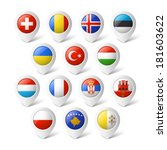 map pointers with flags. europe. | Shutterstock .eps vector #181603622