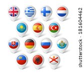 map pointers with flags. europe. | Shutterstock .eps vector #181604462
