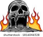 skull on fire with flames... | Shutterstock .eps vector #1816046528