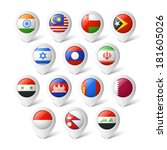 map pointers with flags. asia. | Shutterstock .eps vector #181605026