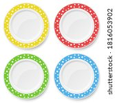 set of color plates with white...   Shutterstock . vector #1816053902
