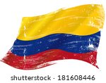 flag of  colombia in the wind... | Shutterstock .eps vector #181608446