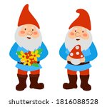 cute garden gnomes in red cups. ... | Shutterstock . vector #1816088528