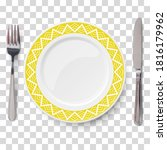 empty vector yellow plate with...   Shutterstock .eps vector #1816179962