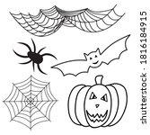 halloween set of spiders  web ... | Shutterstock .eps vector #1816184915