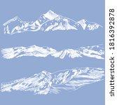 Vector Mountains Sketches  Sky...