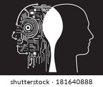 fusion of human with artificial ... | Shutterstock .eps vector #181640888