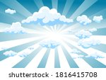sky with clouds  and sun with... | Shutterstock .eps vector #1816415708