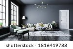 Small photo of Modern interior design, in a spacious room, next to a table with flowers against a gray wall. Bright, spacious room with a comfortable sofa, plants and elegant accessories.