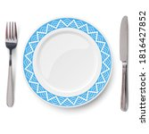 empty vector blue plate with...   Shutterstock .eps vector #1816427852