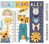 kids height chart with cute... | Shutterstock .eps vector #1816437212