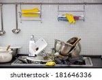 heap of dirty utensil on the...   Shutterstock . vector #181646336