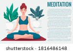 woman sitting in lotus position ... | Shutterstock .eps vector #1816486148
