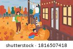family decorate for halloween... | Shutterstock .eps vector #1816507418