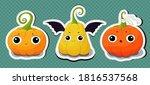 cute halloween pumpkins... | Shutterstock .eps vector #1816537568