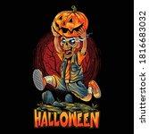 cute halloween zombies running...   Shutterstock .eps vector #1816683032