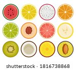 fruit slices icons isolated on... | Shutterstock .eps vector #1816738868