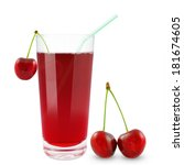 fresh cherry juice on a white... | Shutterstock . vector #181674605